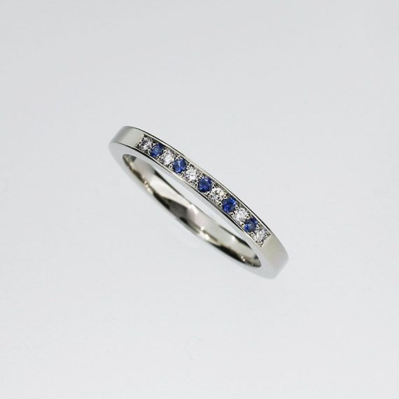 Angara Womens Airline Set Sapphire Diamond Half Eternity Wedding Band TC8PpVU1h