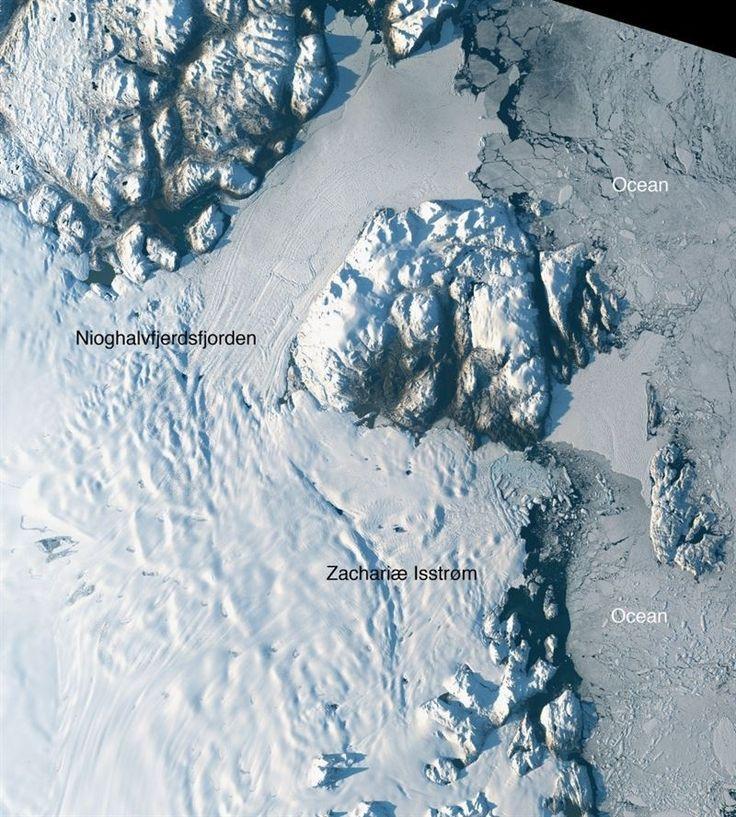 Un inmenso glaciar en el noreste de Groenlandia, con suficiente agua para elevar el nivel global del mar en 45 centímebros, se ha descolgado y se desmenuza...