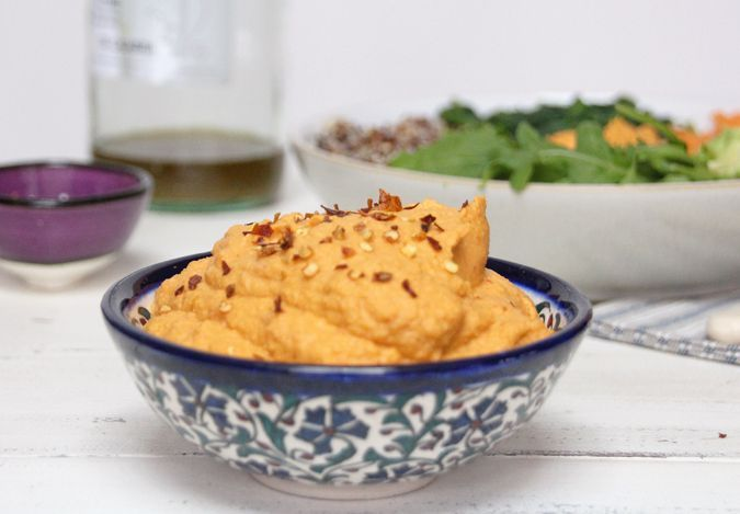 Roasted Red Pepper and Paprika Hummus.   Absolutely delicious! LOVE LOVE LOVE hummus.