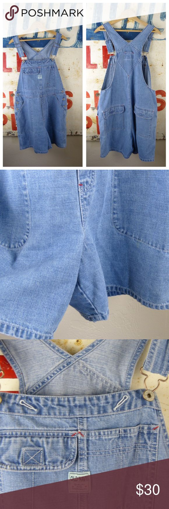 "Vintage Old Navy Denim Jeans Overalls Sz Large Excellent condition Cotton Adjustable straps 6"" inseam 18"" across the waist Old Navy Jeans Overalls"