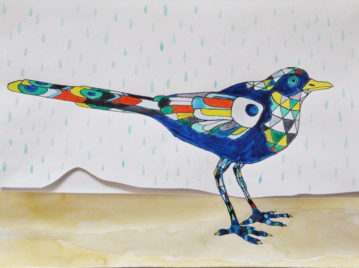 Blue bird in rain. ink drawing by katrine mosegaard