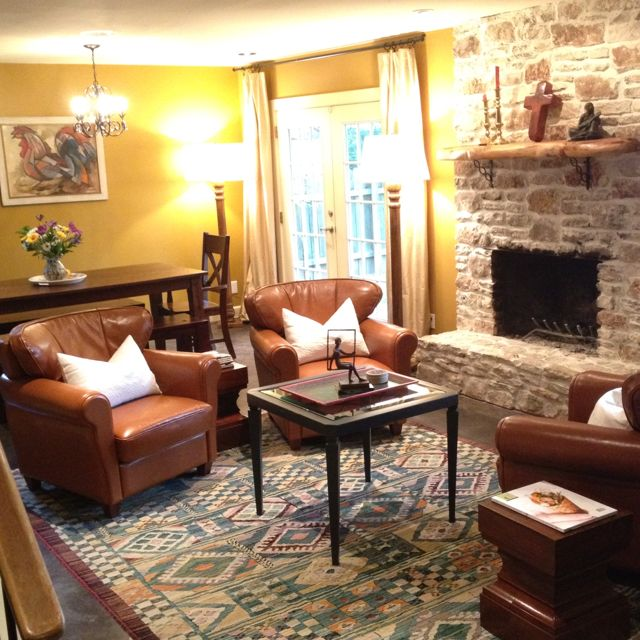 Club Chairs Sitting Area Conversation Room Fireplace