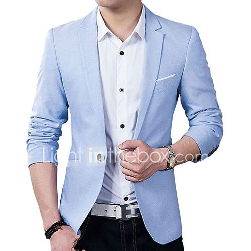 Men's Solid / Patchwork Casual / Work Blazer,Cotton / Acrylic Long Sleeve Black / Blue 916272 2017 - $20.99