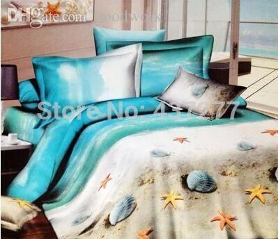 discount designer bedding wholesale oil painting beach seashell starfish home textile bedding sets egyptian cotton queen