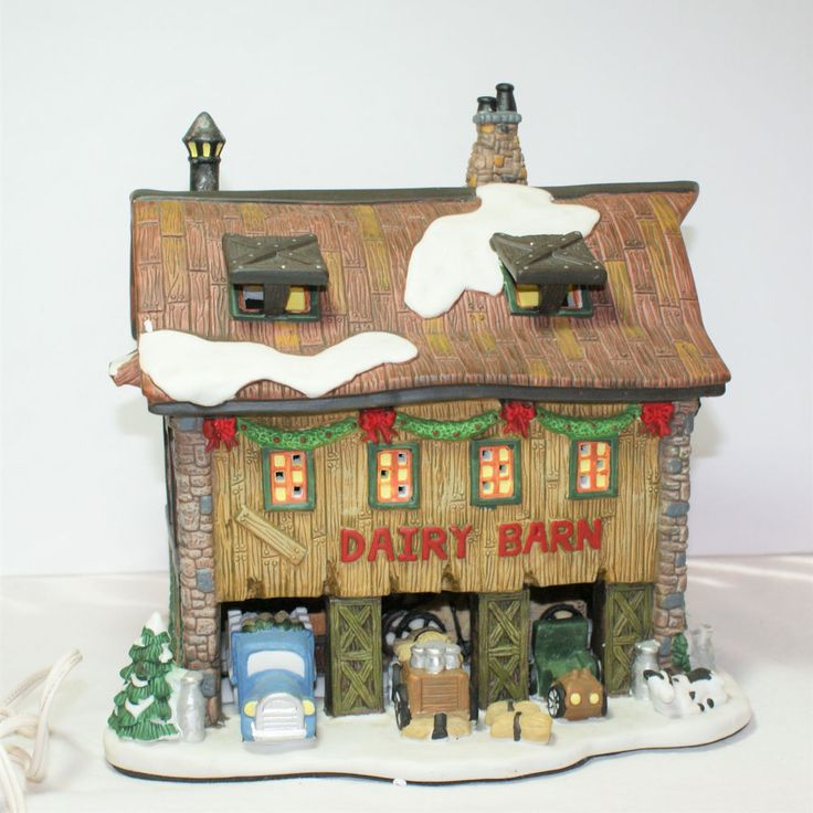 Holly Hill Dairy Barn Lighted Village Christmas by Carol Towne Collection  #CaroleTowneCollection