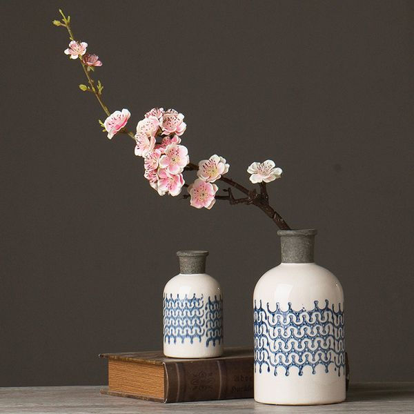 Американские ретро новый китайский синий и белый фарфор ваза пьяны лед трещины керамические цветок цветочные орнаменты рабочего стола украшения