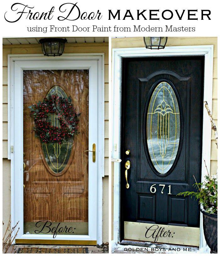 Front Door Makeover with Modern Masters Front Door Paint in Elegant black-www.goldenboysandme.com