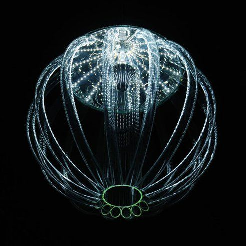 """The bioluminescence of deep sea organisms is a magical thing to behold. Czech designer Kateřina Smolíková captures this wonder of nature beautifully in her breathtaking glass chandelier design, lit by energy-efficient LEDs."""