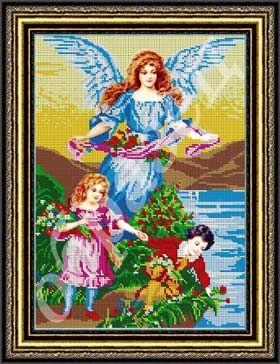 8743d016e7d865 Ангел Хранитель и дети схема вышивки бисером #икона #вышивка #ангел ...