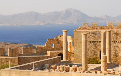 The ruins of the Ancient Temple at Lindos on Rhodes.