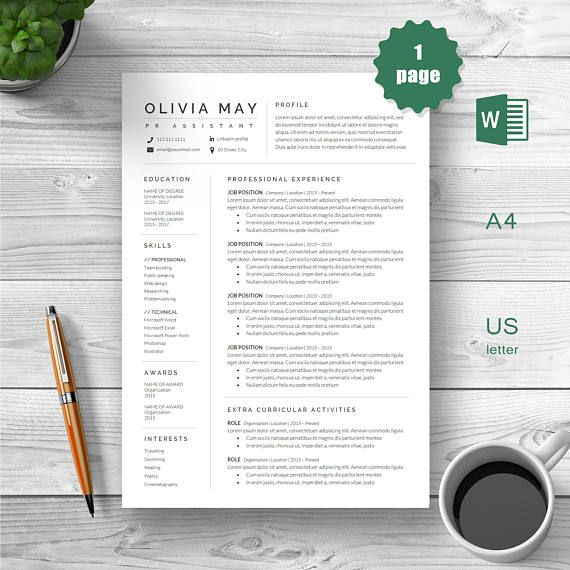One page Resume Professional Resume Modern Resume Resume
