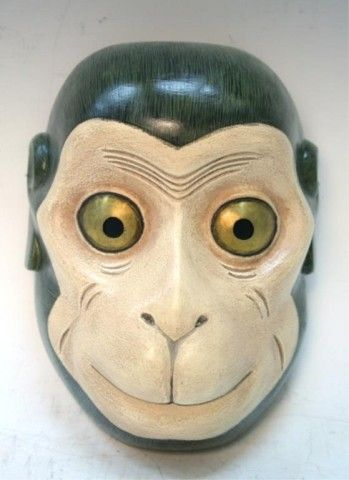 Japanese Monkey Noh Theatre Mask Saru Showa Period, Register to bid! http://www.liveauctioneers.com/item/19180162