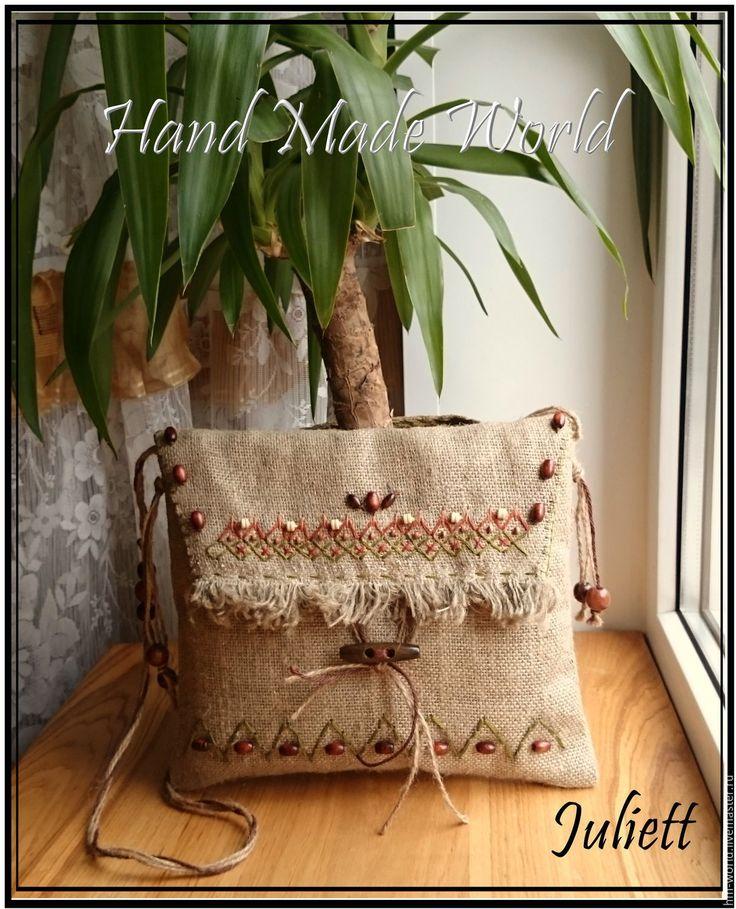 Купить Сумочка из мешковины - бежевый, абстрактный, мешковина, сумка через плечо, сумка на каждый день