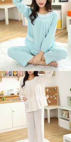Women Comfy Lace Long Sleeve Sleepwear Leisure Breathable Round Collar Nightwear Sets Pee And Robes