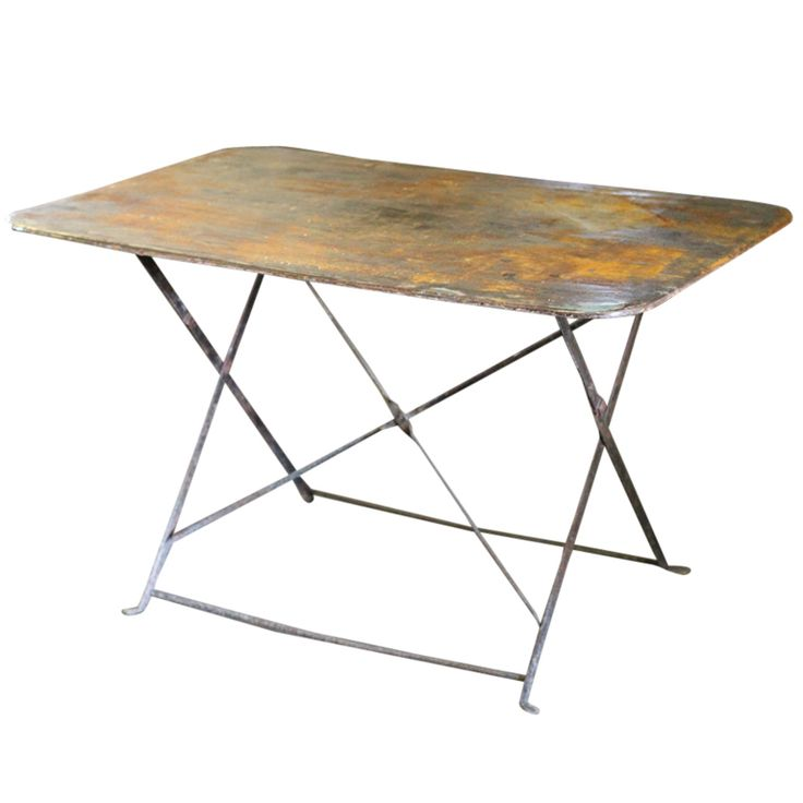 late 19th century french folding bistro table hand riveted iron wonderful patina