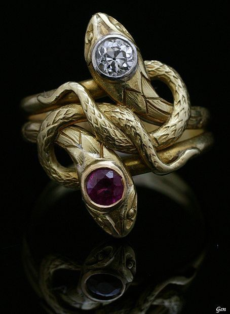 Art Nouveau Snake Ring. I'd Wear It. If It Was Silver Instead Of Gold & It Would Have A Garnet & A Onyx Instead Of A Diamond & Amethyst.