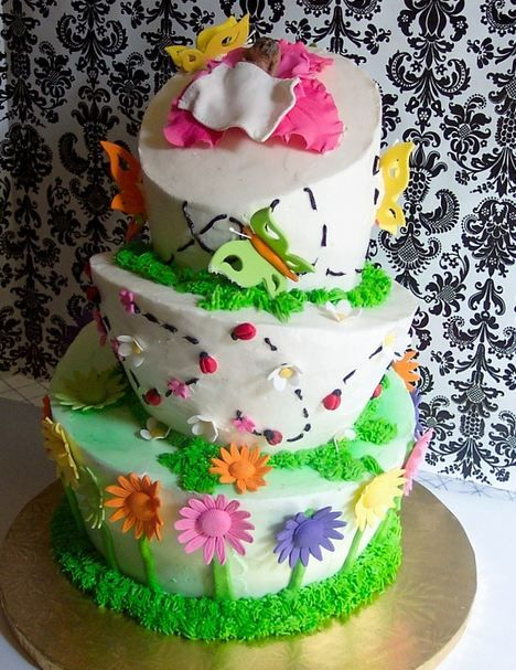 White topsy turvy flower and butterflies theme baby shower cake jpg