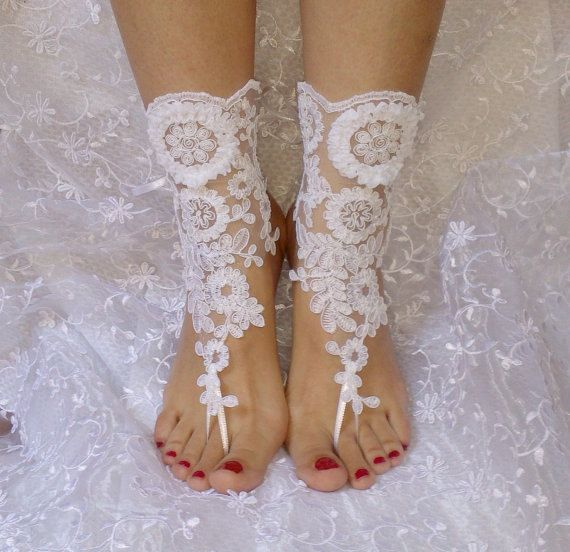 Free ship white Beach wedding barefoot sandals by WeddingGood