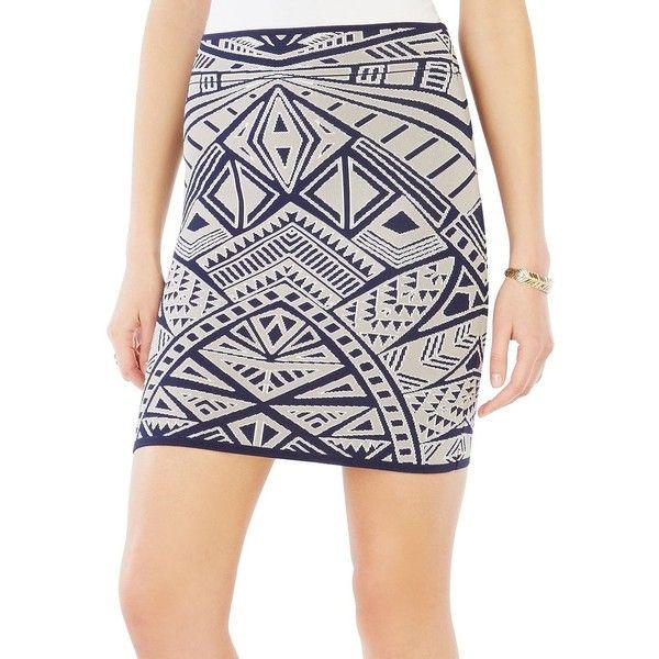 Bcbgmaxazria Pavel Medallion Knit Jacquard Power Skirt ($139) ❤ liked on Polyvore featuring skirts, blue, white stretch skirt, white skirt, patterned pencil skirt, knit skirt and stretch skirt