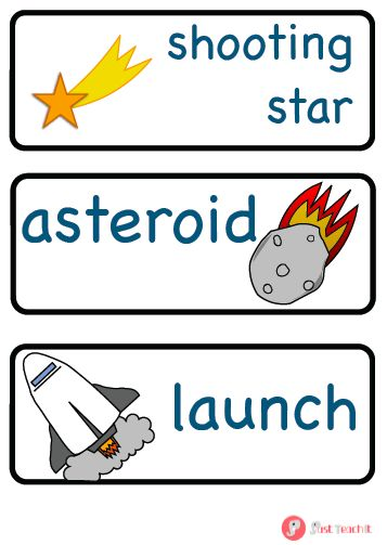 A great set of 27 labels (plus 3 blank labels) displaying key vocabulary related to space with an image. Labels include planet names plus other space related vocabulary such as rocket, astronaut and galaxy. Ideal for any space display or role play area. Also available in A5 size, in full-colour and as part of our space pack. See www.justteachit.co.uk