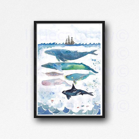 Whale Print Whales Under The Sea Watercolor Painting Whale Art Nautical Print Art Whales Illustration Unframed Bathroom Wall Art Wall Decor