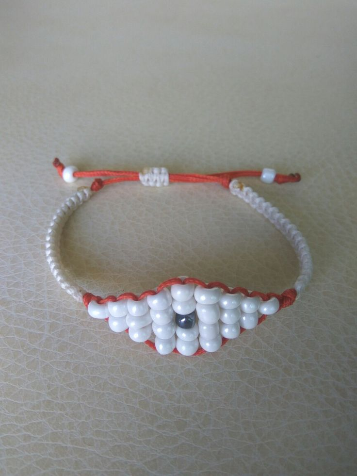 White and orange macrame bracelet Greek eye!