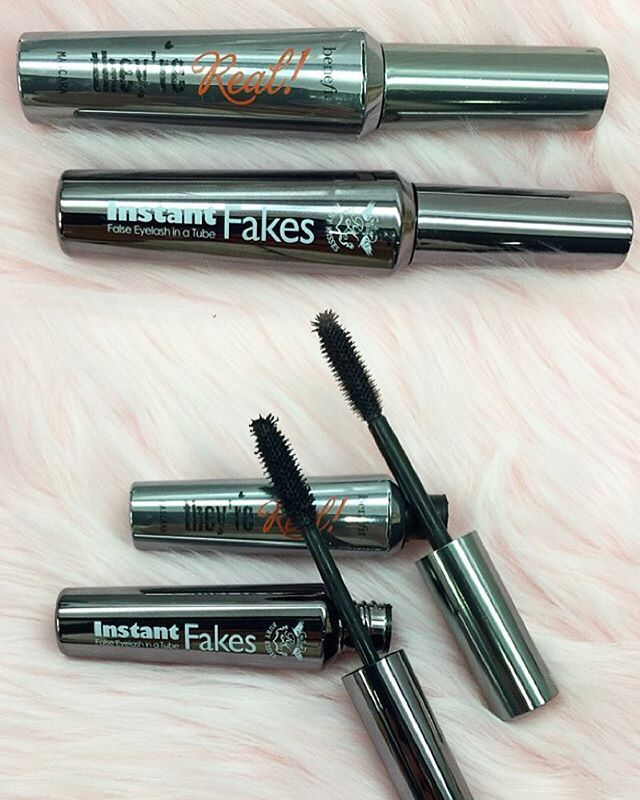 """DUPE ALERT! Benefit """"They're Real Mascara"""" ($24) next to Ruby Kisses """"Instant Fakes False Lashes"""" in a Tube Mascara ($4.99)"""