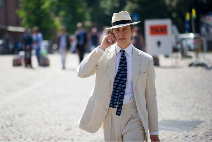 Panama hat + linen beige suit, can't wait for summer!