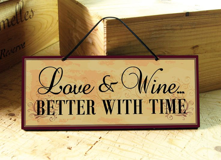 Decorative Wall Plaque with Beautiful Love and Wine Saying in Yellow, Red, Black. Wine Sign. Winter Trends. Valentines Gift. Ready to Ship.. $14.00, via Etsy.