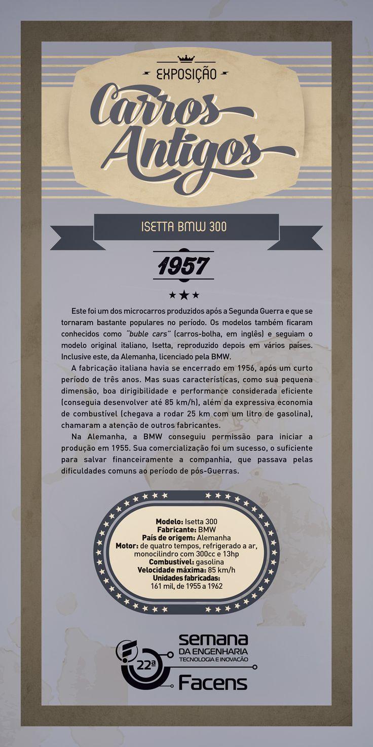 Banner 90x180 Exposição de Carros Antigos - Isetta BMW 300.   Desenvolvido pela Atua Agência para a Faculdade de Engenharia de Sorocaba Facens.