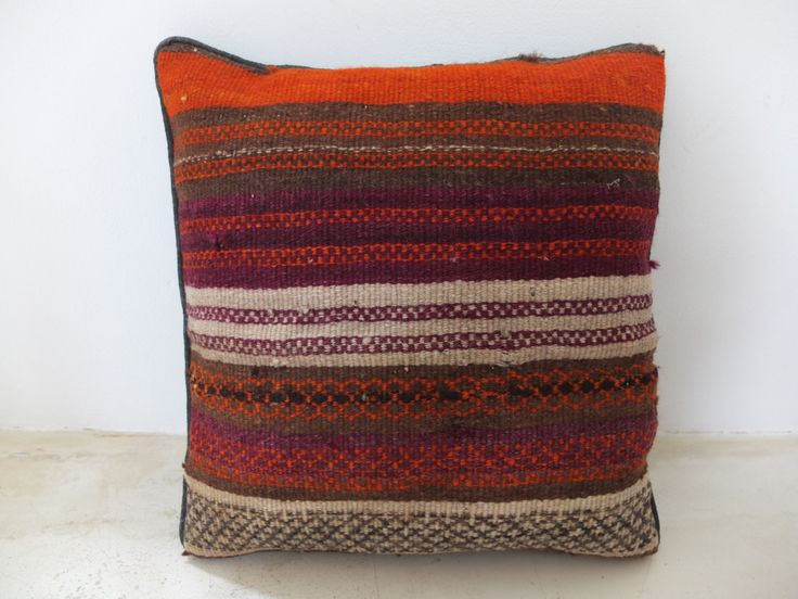 Persian Handwoven Afghan Pillow Cover - Thick Wool - Orange/Brown/Purple Accents - 16' inch (40x40cm) Boho Rustic Arabic Cushion Housewares. see on Etsy: https://www.etsy.com/listing/197248331/persian-handwoven-afghan-pillow-cover?ref=shop_home_active_10