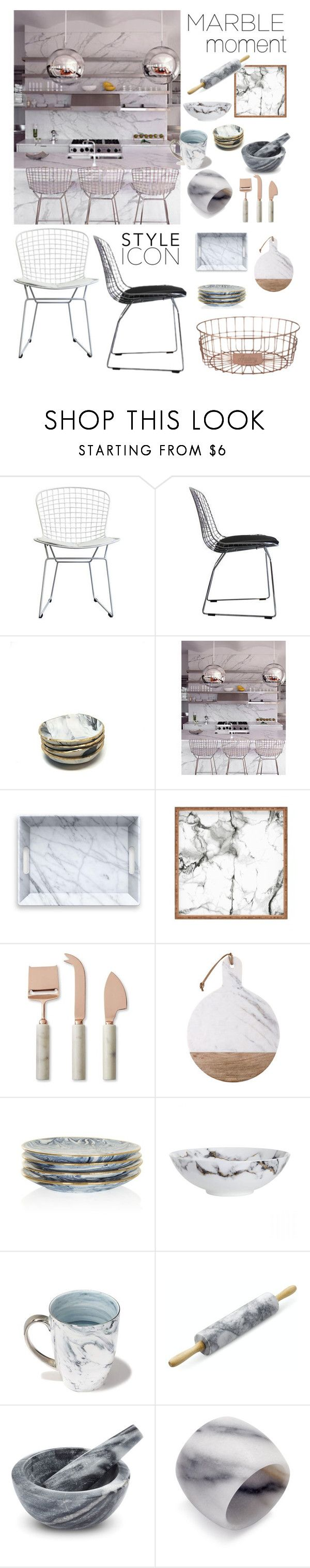 """Marble Moment #marblehome #kitchen #cool #marble #mediterranean #style #interiors #mesh #chairs #metal #marble #palazzo #style"" by cielshopinteriors ❤ liked on Polyvore featuring interior, interiors, interior design, home, home decor, interior decorating, Ciel, DENY Designs, Williams-Sonoma and Prouna"