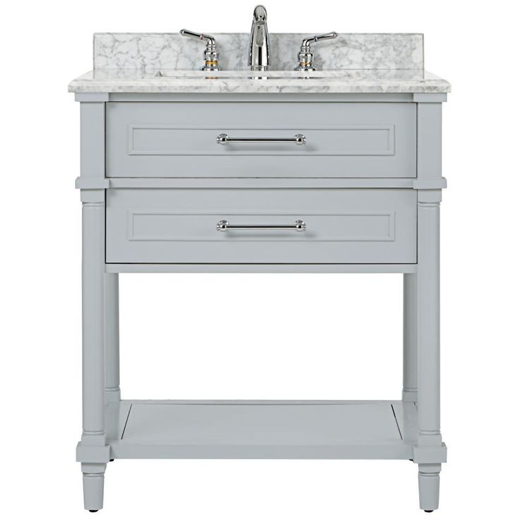 Home Decorators Collection Aberdeen 30 in. W Open Shelf Vanity in Dove Grey with Marble Vanity Top in White with White Basin