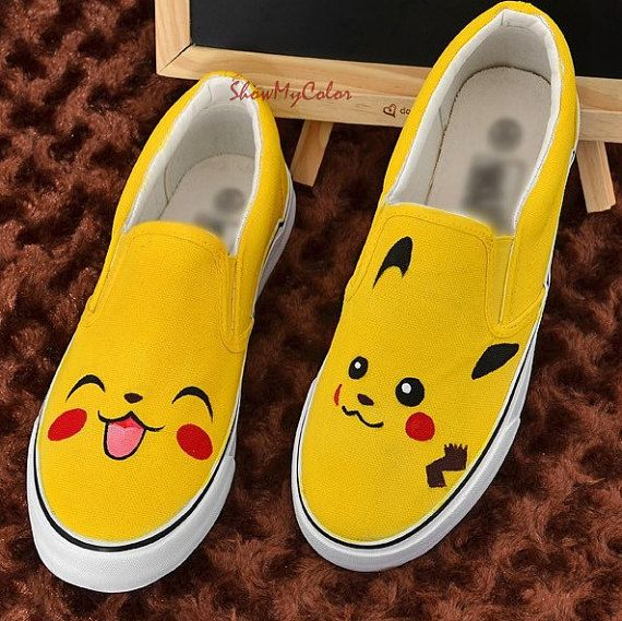 Pikachu Anime Shoes pokemon Canvas Shoes Pikachu von ShowMyColor, $38.99 i would totally kill anyone for one of these shoes