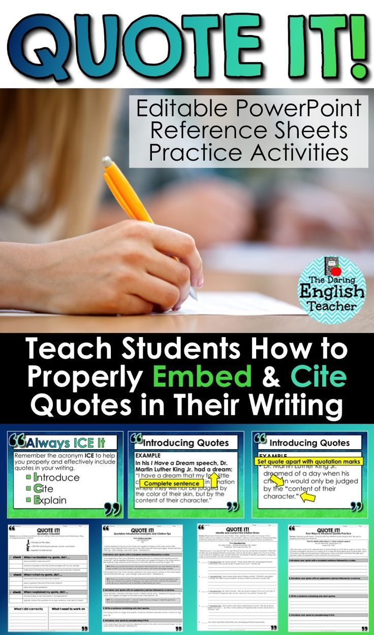 Teach middle school and high school English students how to properly embed and cite quotations in their writing. This lesson is ideal for research, literary analysis, and informative writing. Secondary ELA writing.