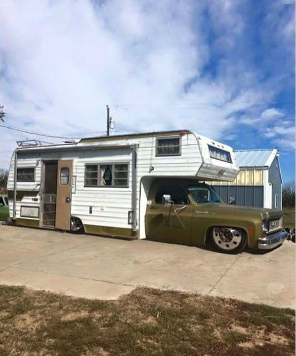 Awesomeness! Lowered mid '70s C-10 truck with semi wheels & camper!