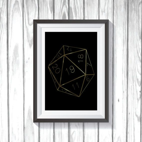 20 Sided Dice Gold Print by MonkeyMomPrints on Etsy