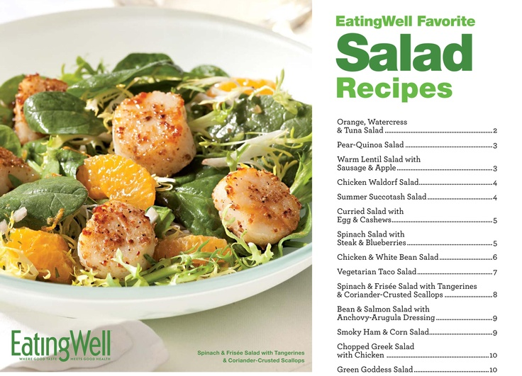 Here is a free cookbook full of Healthy Salad Recipes from @EatingWell! It's easy to download and print some great inspiration for lunch or a weeknight dinner.