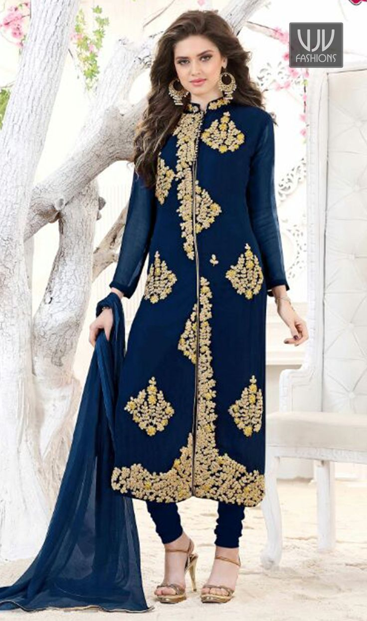 Awesome Blue Color Georgette Designer Salwar Suit  You look so charming wearing this attire. An outstanding blue color georgette designer salwar suit will make you look very stylish and graceful. Beautified and stylized with embroidered work to give you an attractive look.