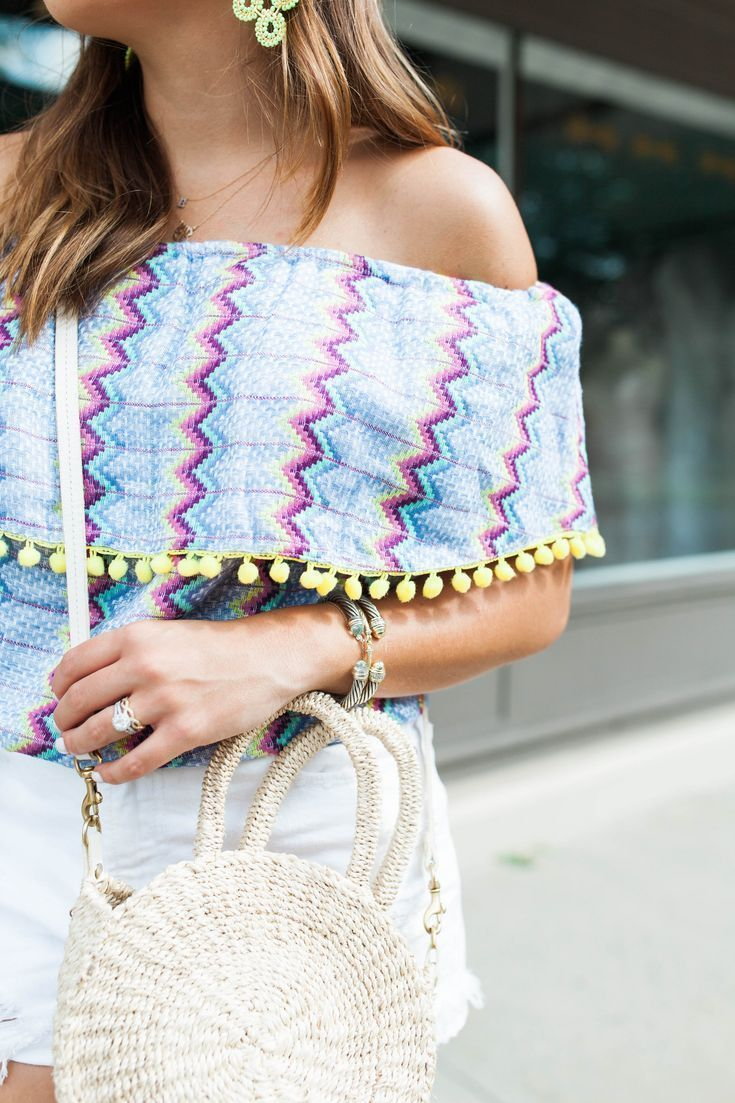 7e2ffad662 Colorful Off The Shoulder Top   Summer Style via Glitter   Gingham   Ft. Straw  Bag