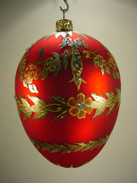Red Faberge Egg Style Christmas Bauble