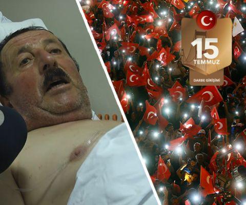 """Bizde iman var Türk'ü kimse yenemez  FETÖ tarafından gerçekleştirilen 15 Temmuz darbe girişimi sırasında Akıncı 4. Ana Jet Üs Komutanlığı'nda hainler hainlerin açtığı ateş sonucu yaralanan 70 yaşındaki Mustafa Zorova, """"Türk'ü, bizi kimse yenemez, bize kurşun falan tesir etmez. Bizde bu iman oldukça bizi kimse yenemez."""" dedi."""