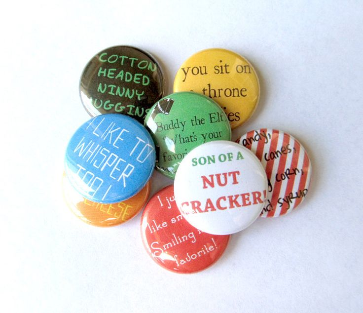 Buddy the Elf Quotes Pinback Button Set (Full Set of 8) Funny Christmas Movie Quote Pins Brooch by NudeAndLoiteringTees on Etsy https://www.etsy.com/listing/109000304/buddy-the-elf-quotes-pinback-button-set