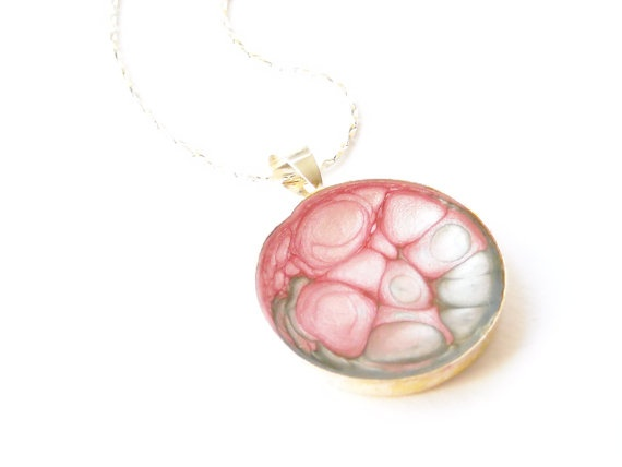 Handmade hand painted pink and silver round  by oBocreations, $19.00