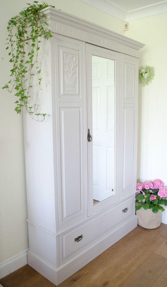 Antique Victorian Shabby Chic Wardrobe / Armoire Painted in Farrow & Ball