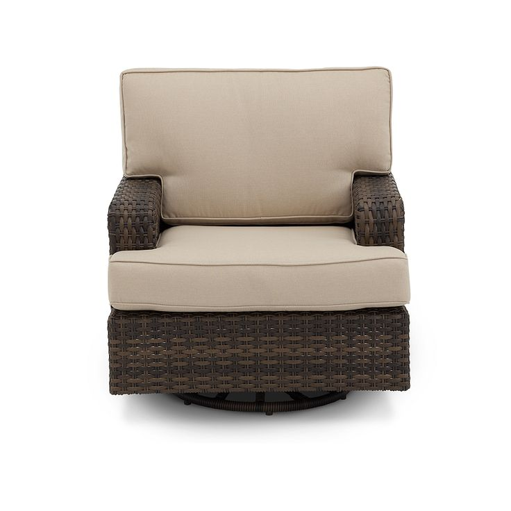 Create Summer Memories With The Brookstone Swivel Club Chair In Resin Woven  Wicker And Cream Colored
