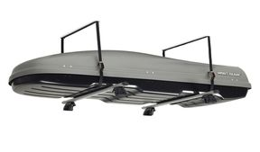 Wall mounted storage for roof boxes,Ideal for the garage or car port,The box lift consists of two straps fastened to the garage roof, the straps make it possible to lift up the roof box and then lower it directly onto the car roof