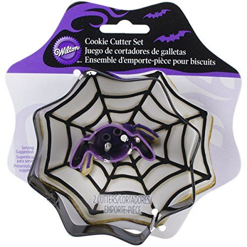 Wilton 2308-0897 Spider Web and Spider Cutter Set - With the 2-pc. Colored metal cookie cutter set, you can make a perfectly shaped spider web with mini spider cookies for Halloween. Whether you make these roll-out cookies to give to friends or serve them at your Halloween party, everyone will love these delicious decorated roll-out cookies. The s...