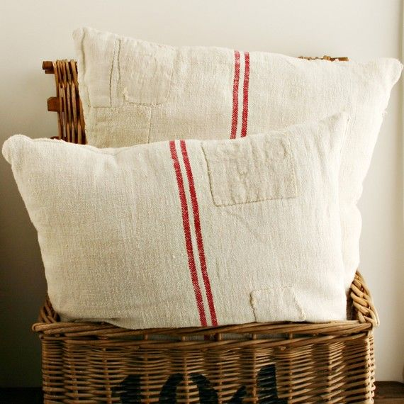 """Patched grain sack pillows...awesome!  I might 'grunge' them a bit to age them and make them more """"prim""""!!      ;)"""