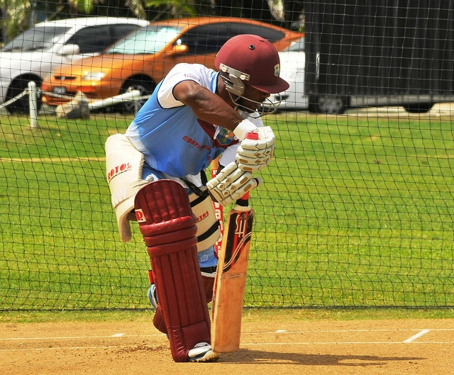 Day 2 ~ Pre Champions Trophy 2013 Barbados Camp: Devon Smith pushes forward during batting practice in the nets.